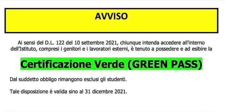 avviso certificazione verde